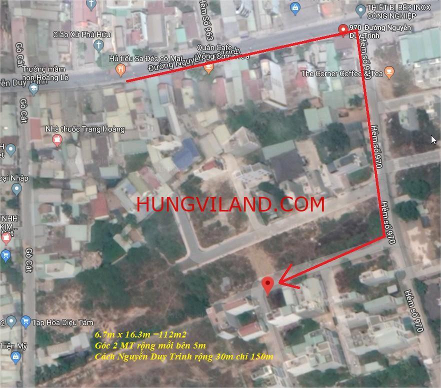 Cần bán đất 2 mặt tiền 6.5x17m  đường 970, cách Nguyễn Duy Trinh chỉ 120m, hướng Tây Bắc. Đường trước nhà 6m.