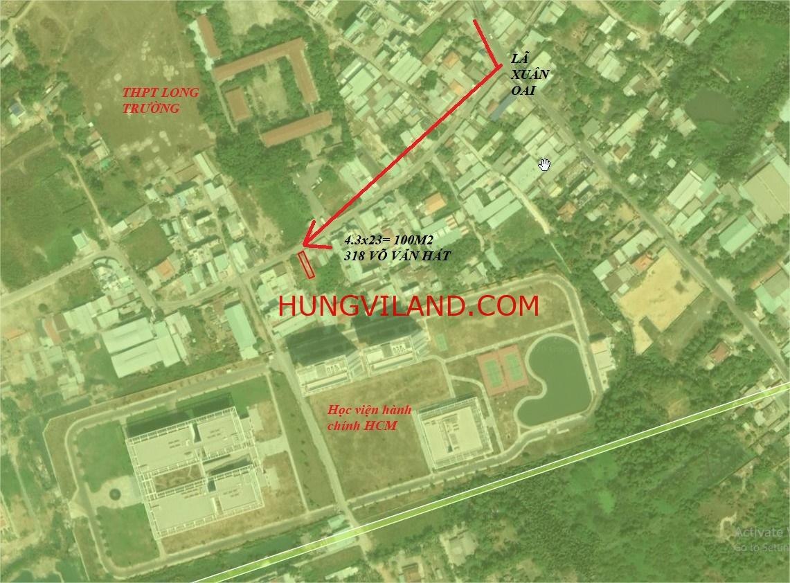 BÁN ĐẤT MẶT TIỀN: Diện tích: 100 m2– Kích thước (rộng x dài): 4.3m x 23m 318 đường Võ Văn Hát Phường Long Trường