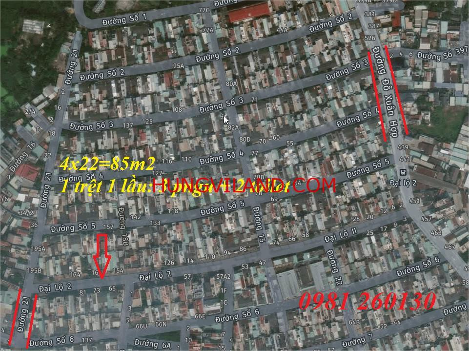 Bán nhà mặt tiền đường Đại Lộ 2 rộng 30m thông suốt Phước Bình, 1 trệt 1 lầu. Diện tích: 84.5m2 (4m x 21m). Lộ giới 30m.