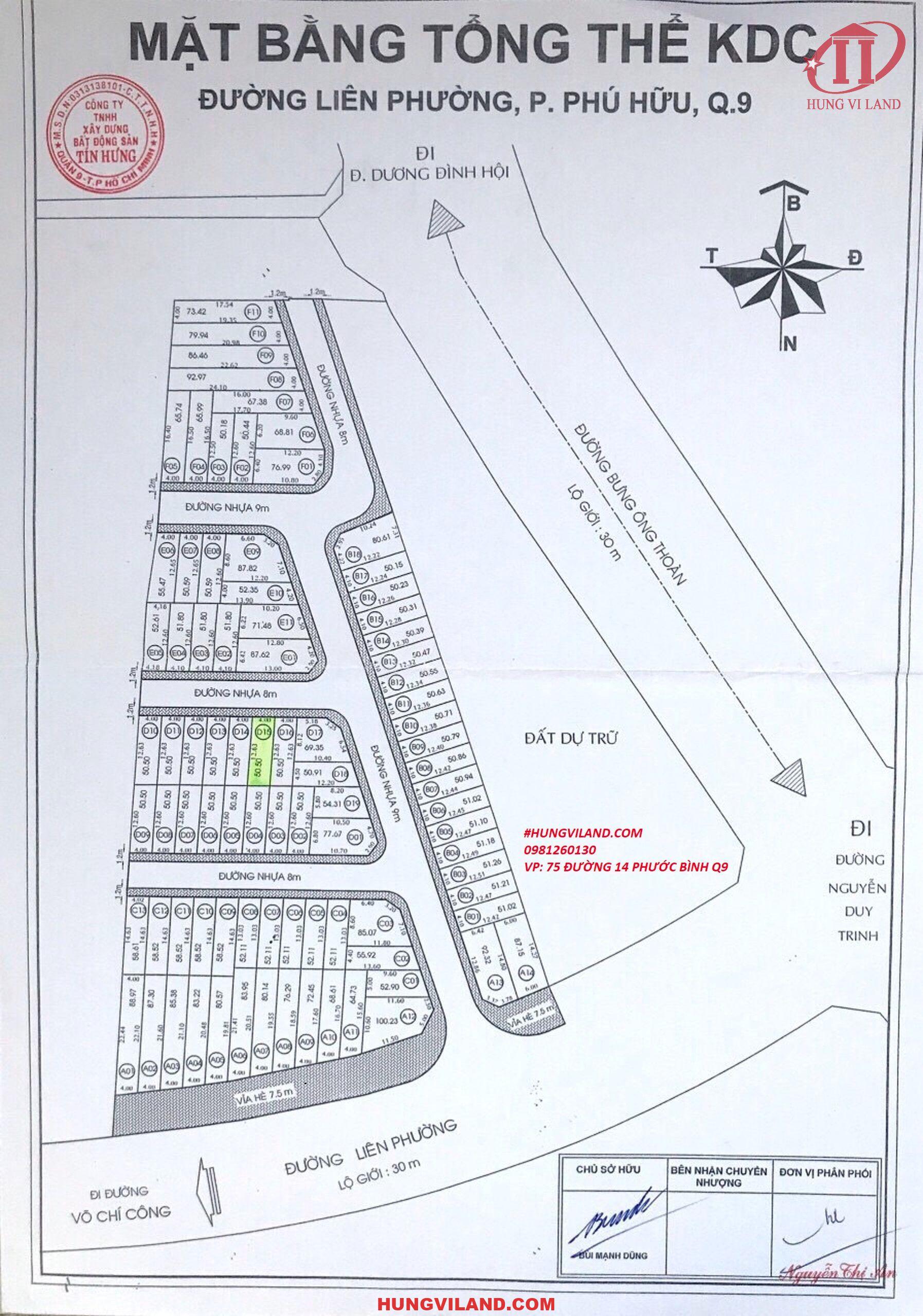 HUNGQ9 – CHUYÊN mua bán Đất nền dự án Tín Hưng đường Liên Phường – Phường Phú Hữu